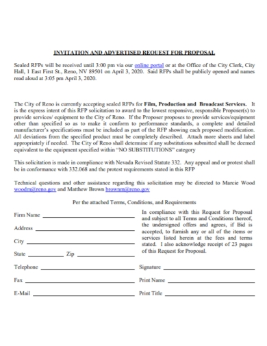 film production advertised request for proposal
