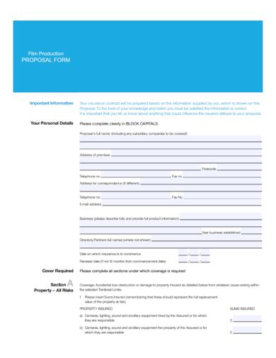 film production insurance proposal form