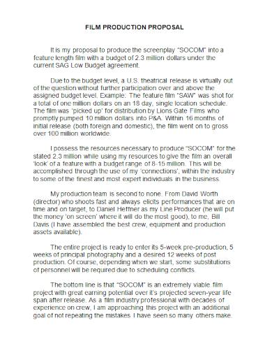 film production proposal