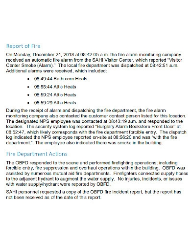 fire accident investigation report