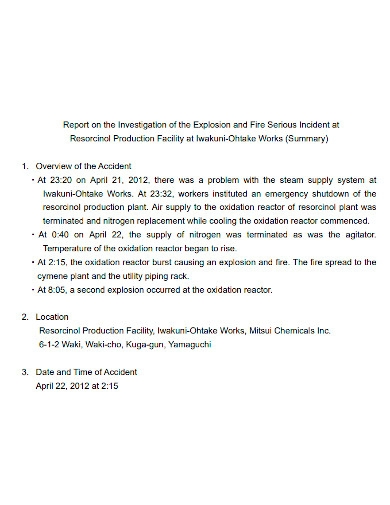 fire incident investigation report