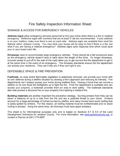 fire vehicle safety inspection information sheet