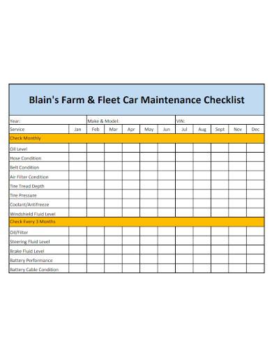 fleet car maintenance checklist