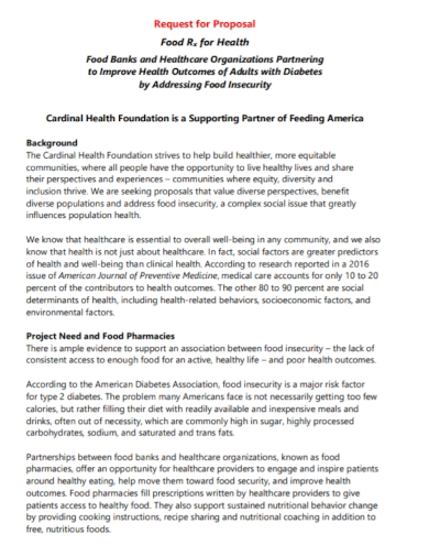 food health insecurity request for proposal