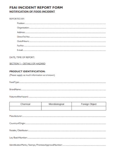 food incident notification report form