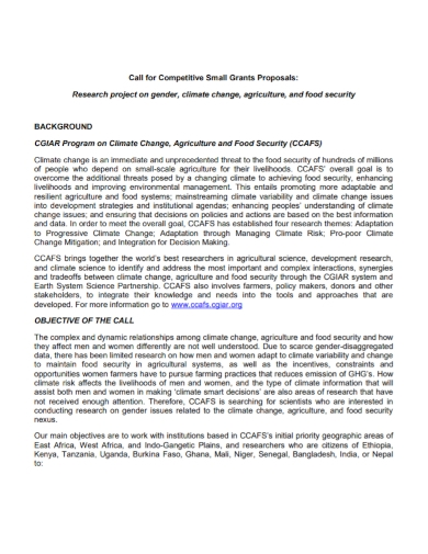 food security call for grant proposal