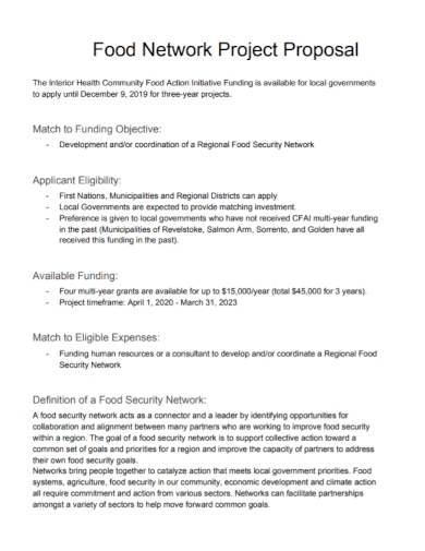 food security network project proposal