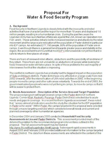 food security program proposal