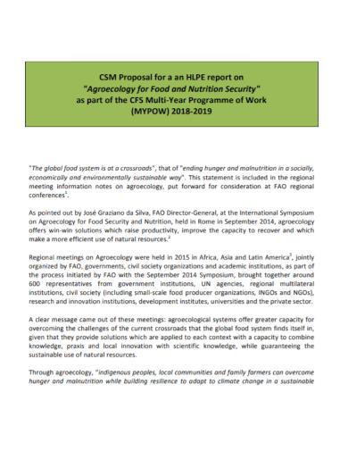 food security work proposal
