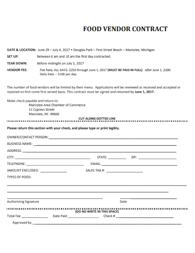 food vendor contract