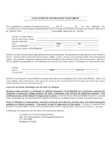 food vendor partnership agreement