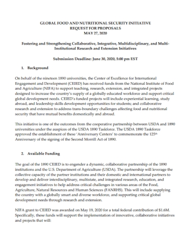 food and nutritional security initiative proposal