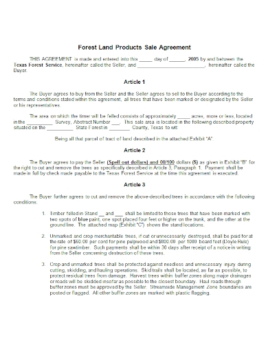 forest land products sale agreement