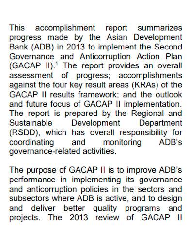 formal annual accomplishment report