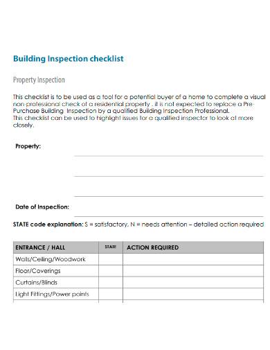 formal building inspection checklist