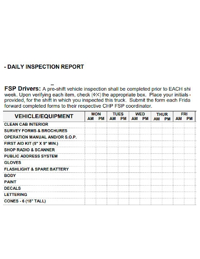 formal daily truck inspection report