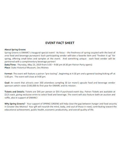 formal event fact sheet