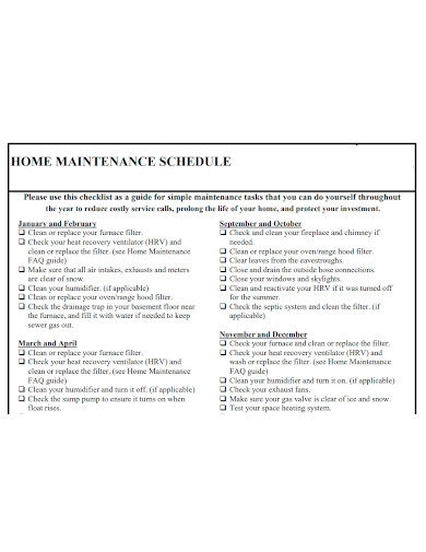 formal home maintenance schedule
