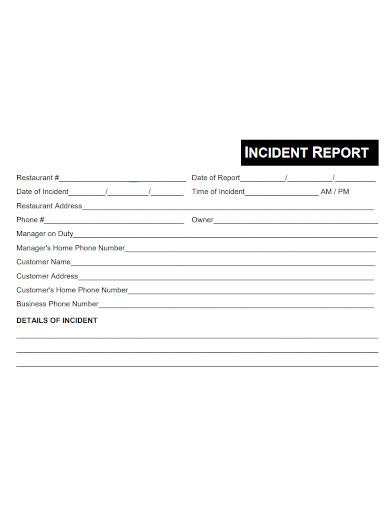 formal restaurant incident report