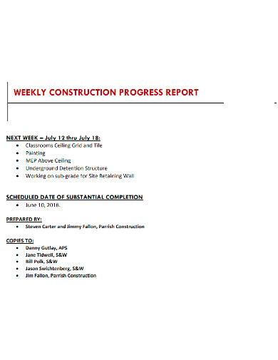 formal weekly construction progress report