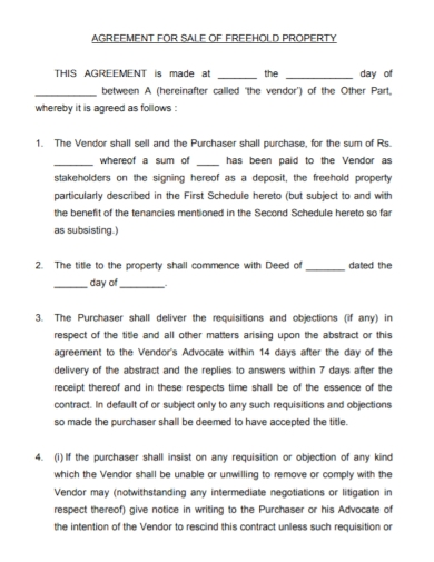 freehold property sale agreement