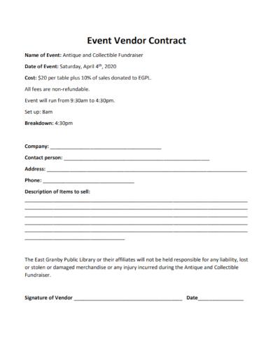 fundraiser event vendor contract