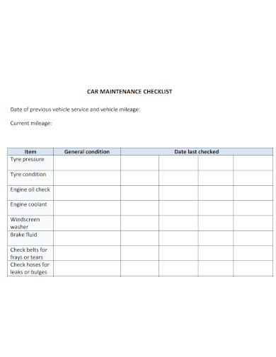 general car maintenance checklist