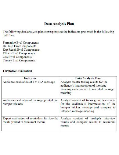 general data analysis plan