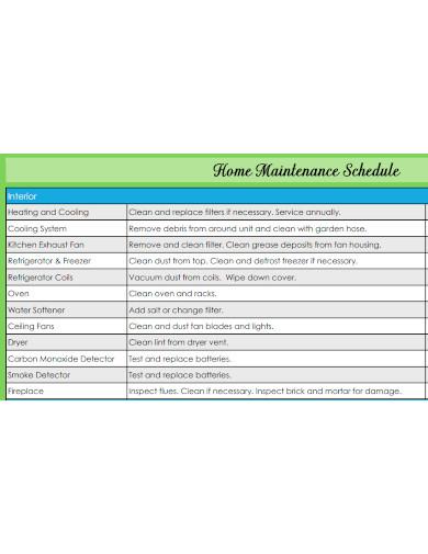 general home maintenance schedule