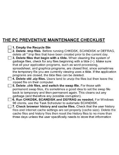 general preventive maintenance checklist