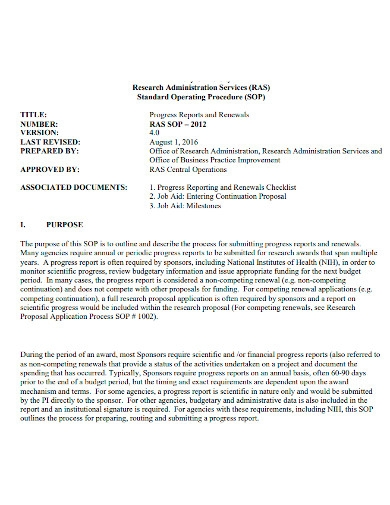 general research performance progress final report