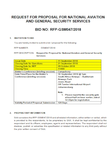 general security services bid request for proposal