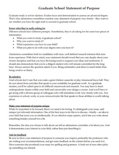 grad school statement of purpose