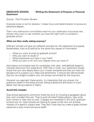 graduate school personal statement of purpose