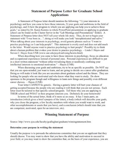 graduate school winning statement of purpose