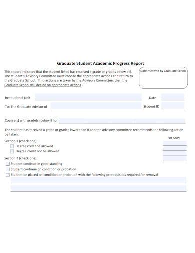 graduate student academic progress report