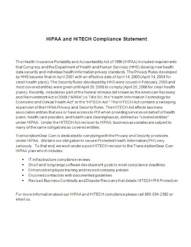 hipaa and hitech compliance statement