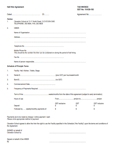hall hire and rental agreements