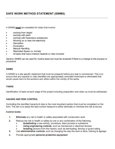 hazard and risk work method statement