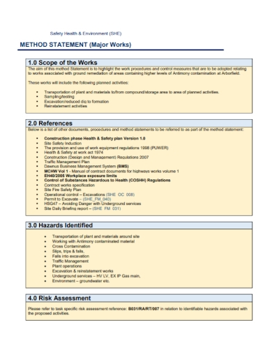 health and safety environment method statement