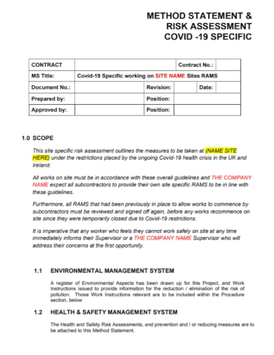 health and safety management method statement