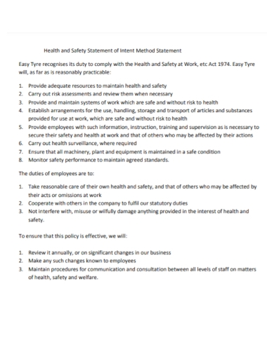 health and safety method statement of intent
