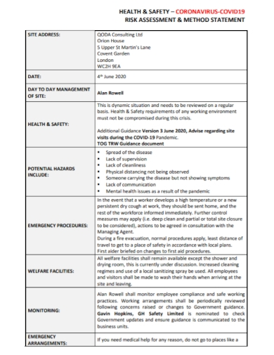 health and safety risk method statement