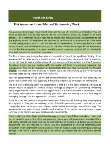 health and safety work method statement