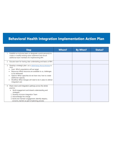 health implementation action plan