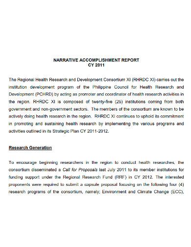 health research narrative accomplishment report