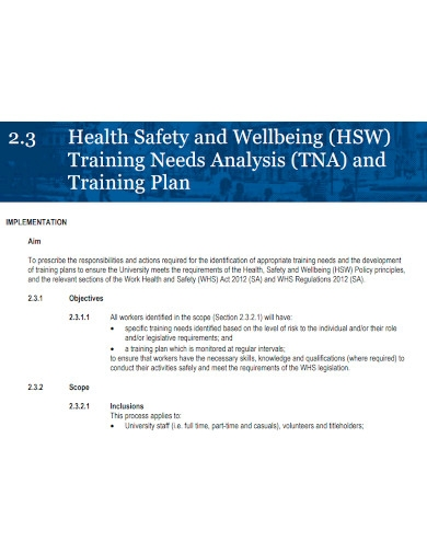 health safety training needs analysis