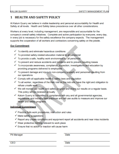 health and safety management policy plan