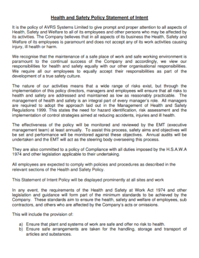 health and safety policy statement of intent