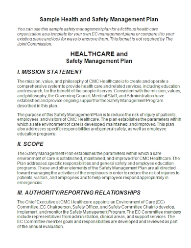 healthcare and safety management plan